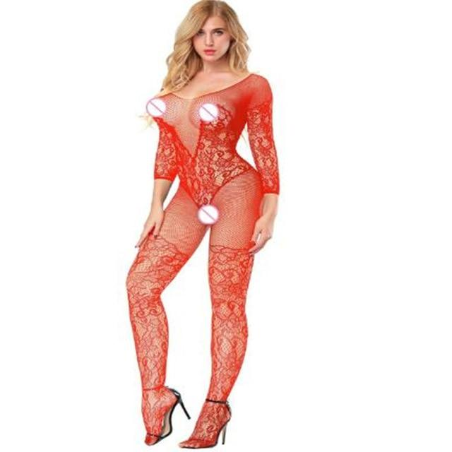 Open crotch elasticity mesh body stockings Body Suit