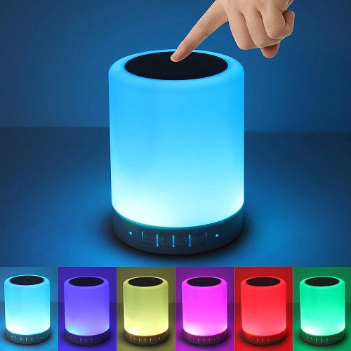 Bocina Bluetooth Y Lámpara De Mesa Led Recargable Touch