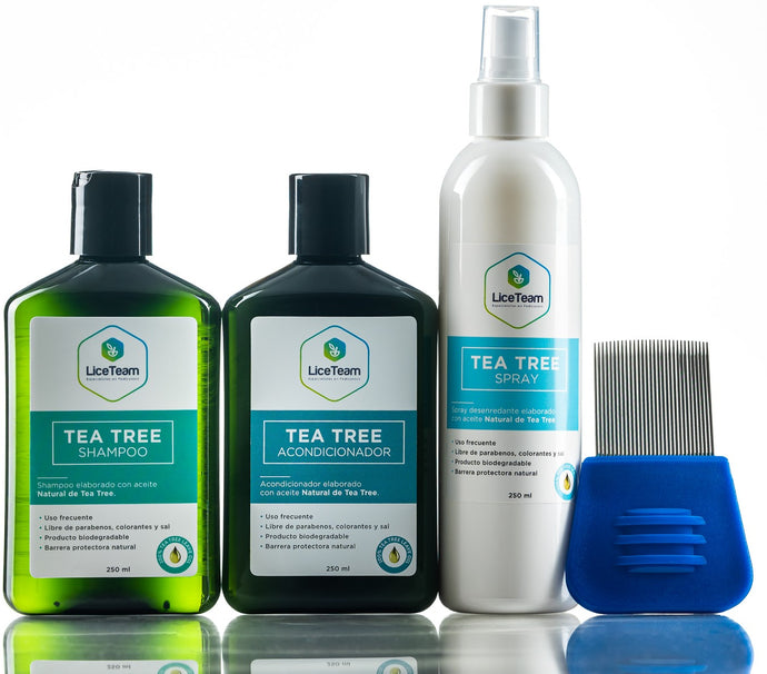 Pack Shock Tea tree shampoo, acondicionador, spray y peine de arrastre