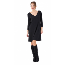 Load image into Gallery viewer, 3/4 Sleeve V Neck A-Line Dress