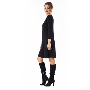 3/4 Sleeve V Neck A-Line Dress