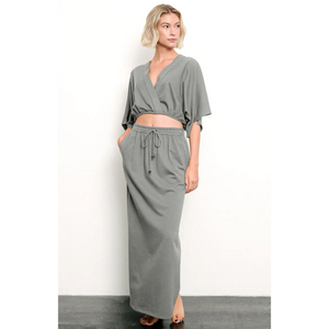 Side Slit Maxi Jersey Skirt with Pockets