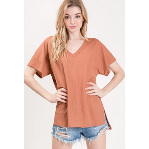 V-Neck Cotton Slit Side Top
