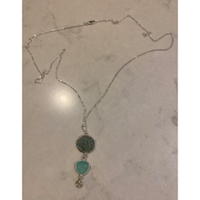 Load image into Gallery viewer, Patina Roman Coin & Chalcedony Necklace