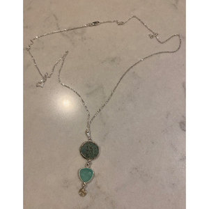 Patina Roman Coin & Chalcedony Necklace