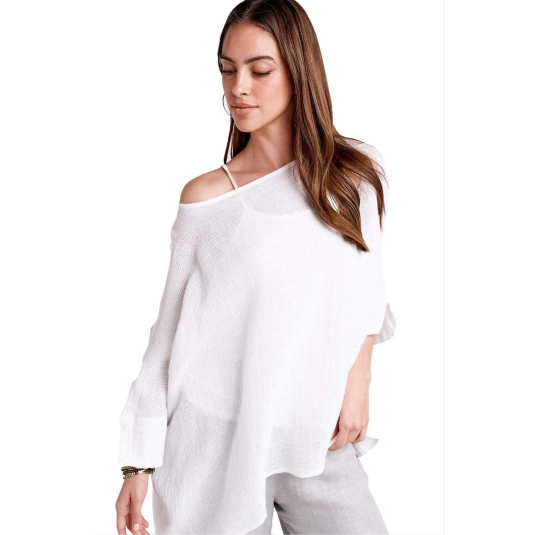 Gauzy Washed Pullover with Knit Cami