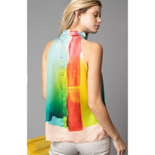 Load image into Gallery viewer, Paintbrush Printed Funnel Neck Top