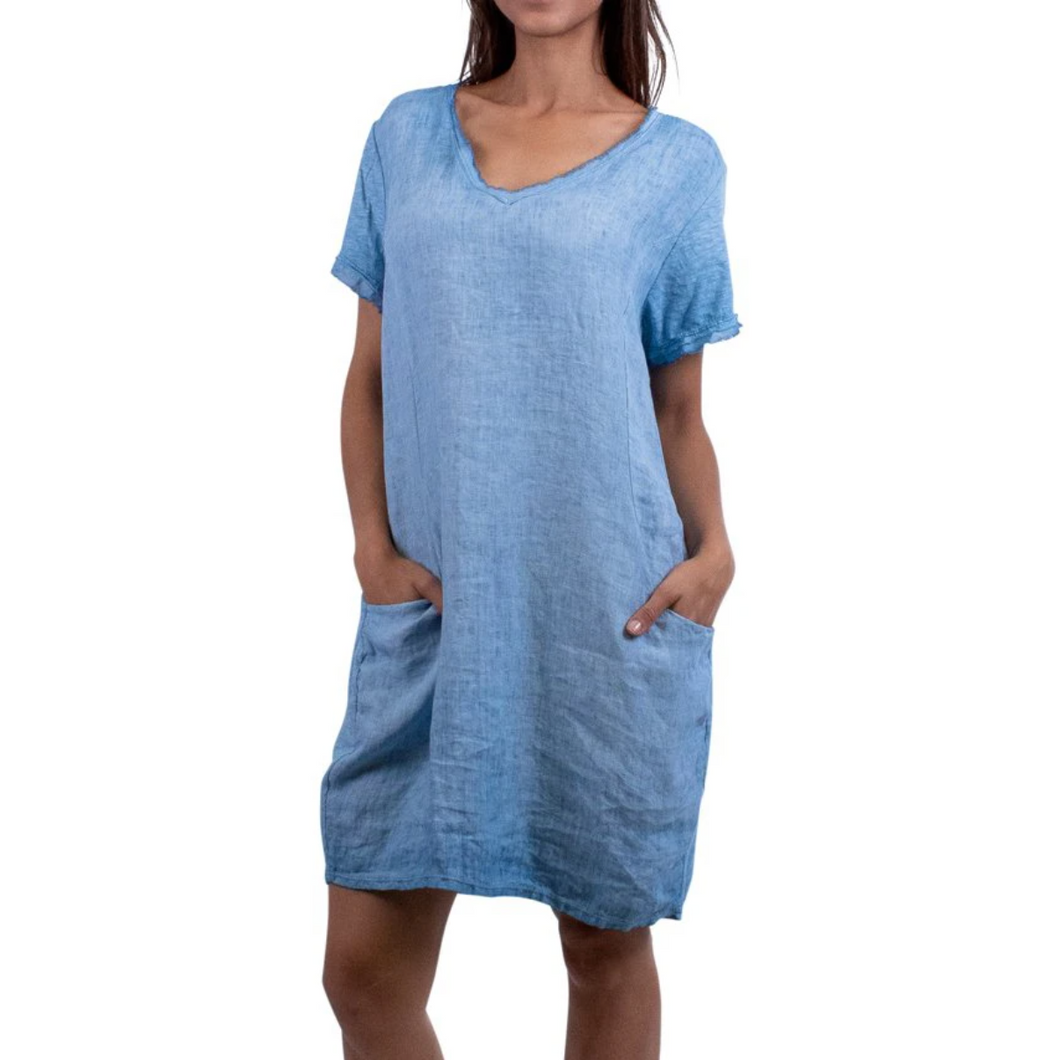 Short Linen Pull-On Pocket Dress