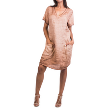Load image into Gallery viewer, Short Linen Pull-On Pocket Dress