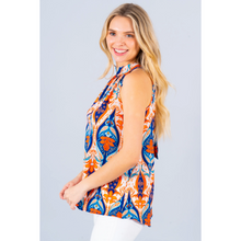 Load image into Gallery viewer, Coral & Blue Halter Tie Neck Blouse
