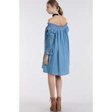 Load image into Gallery viewer, Off-Shoulder Smocked Chambray Dress