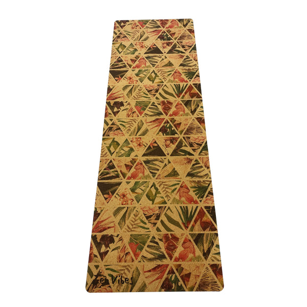4.5 mm Anti Slip Cork Yoga Mat tropical floral Print