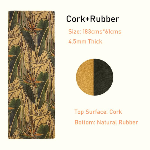 4.5 mm Rubber Cork Yoga Mat exotic floral Print