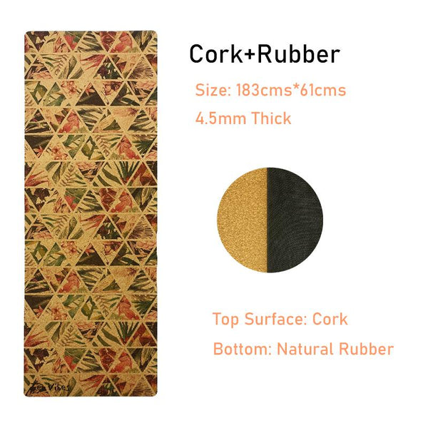 4.5 mm Rubber Cork Yoga Mat tropical floral Print