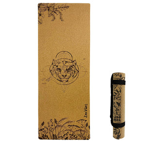 4.5 mm Cork Yoga Mat Fearless Tiger Print