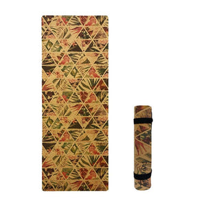 4.5 mm Cork Yoga Mat tropical floral Print