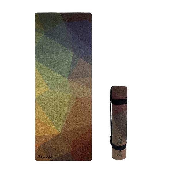 4.5 mm Cork Yoga Mat Polygon Abstract Print