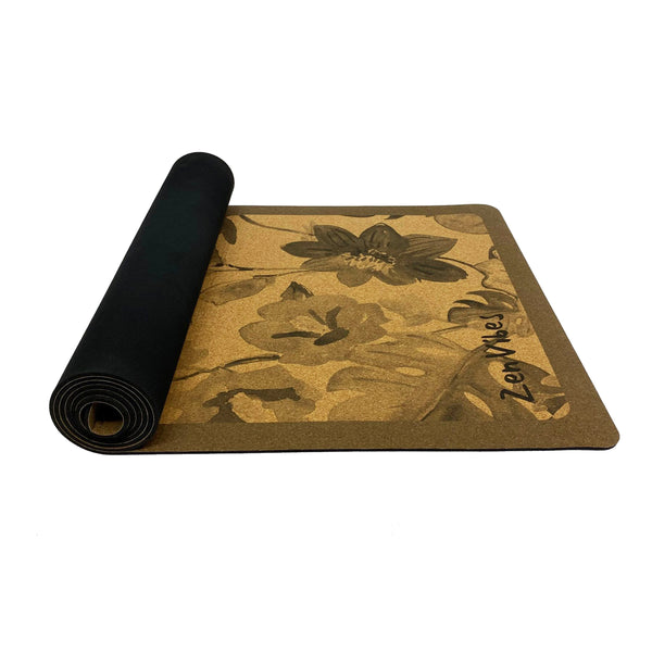 4.5 mm Thick Rubber Cork Yoga Mat tropical floral Print