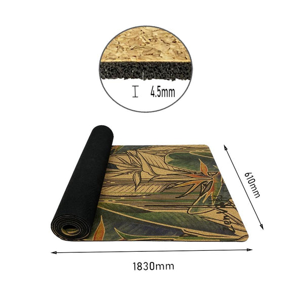 4.5 mm Thick Cork Rubber Yoga Mat exotic floral Print
