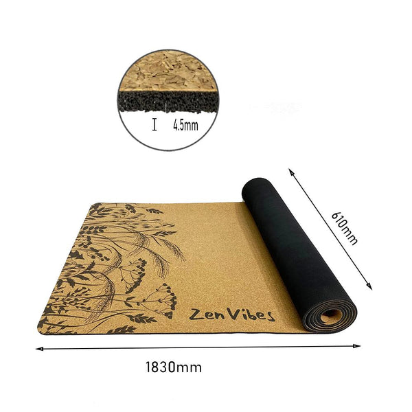 4.5 mm Thick Cork Rubber Yoga Mat Fearless Tiger Print