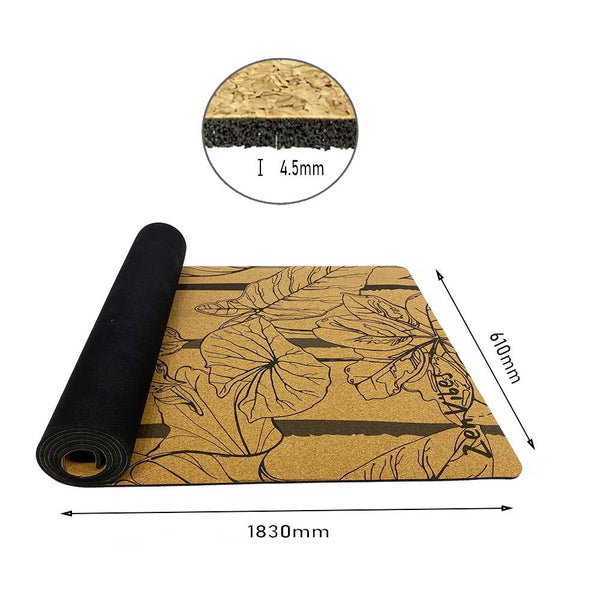 4.5 mm Thick Rubber Cork Leaf Yoga Mat Striped Monstera Print
