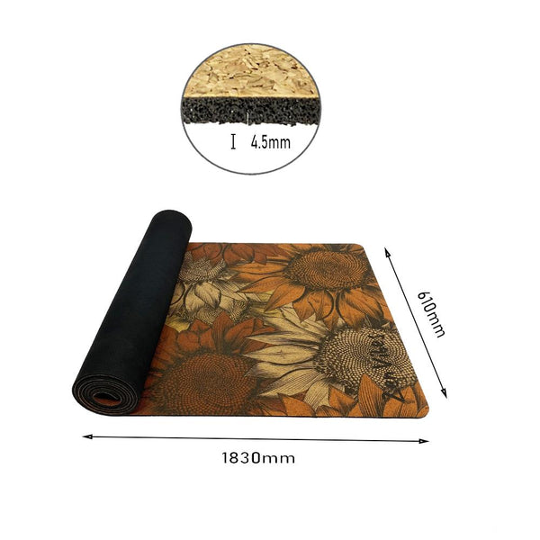 4.5 mm Thick Cork Rubber Yoga Mat sunflower floral Print