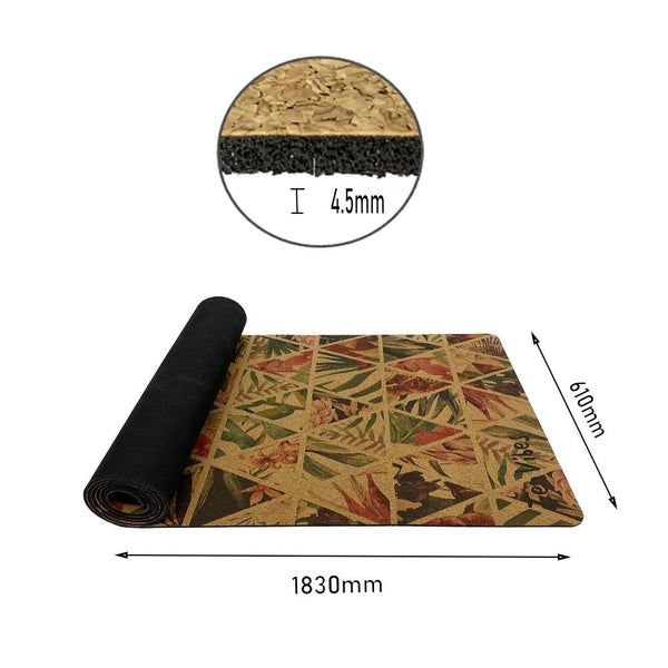 4.5 mm Cork Rubber Yoga Mat Top Rolled tropical floral Print