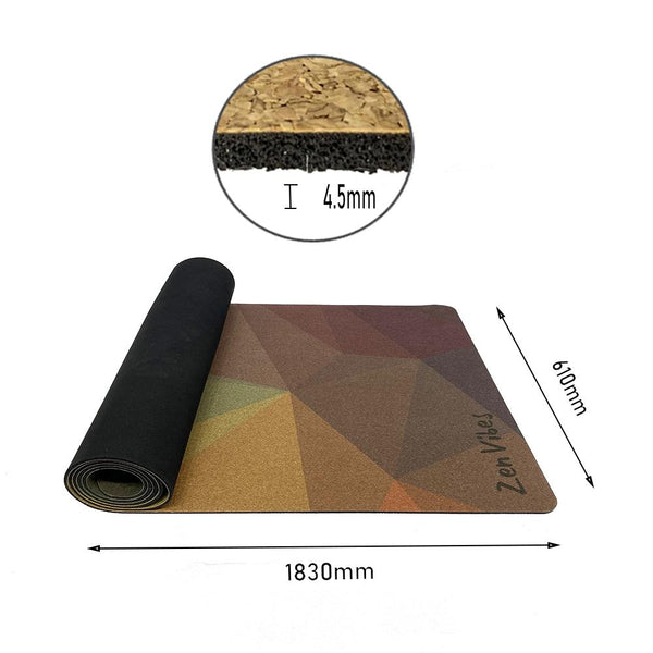 4.5 mm Thick Cork Rubber Yoga Mat Polygon Abstract Print