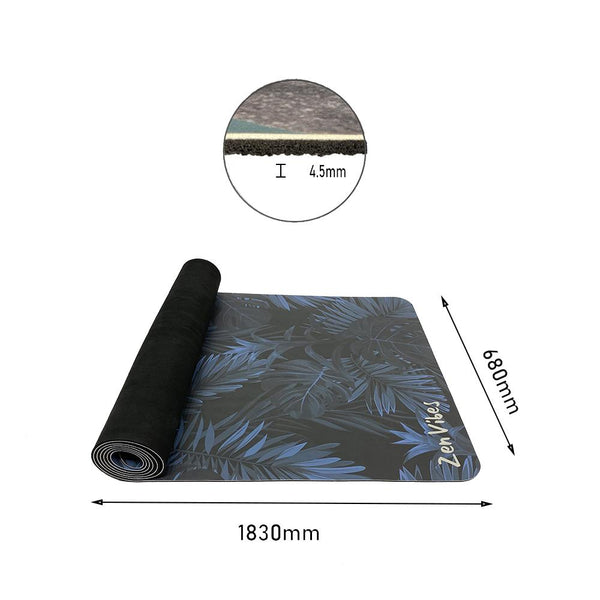 4.5 mm Thick PU Rubber Yoga Mat Leaf Print