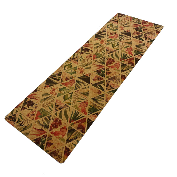 4.5 mm Cork Natural Yoga Mat tropical floral Print