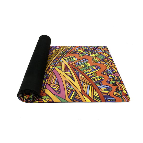 4.5 mm Microfibre Rubber Yoga Mat Top Rolled Doodle Print