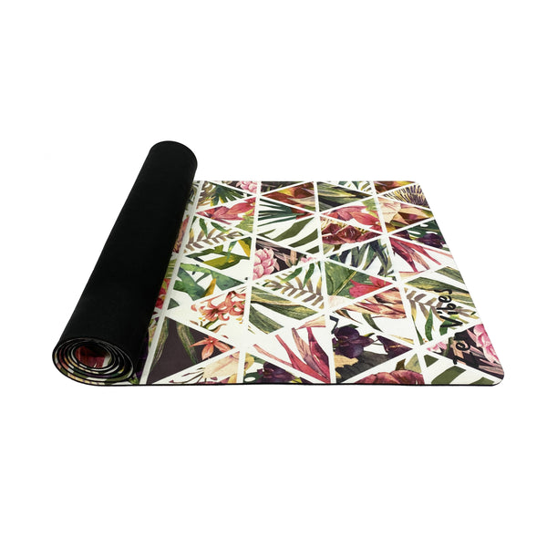 Anti-Slip Microfibre Yoga Mat with Rubber Back | Summer Palm |  4.5 mm