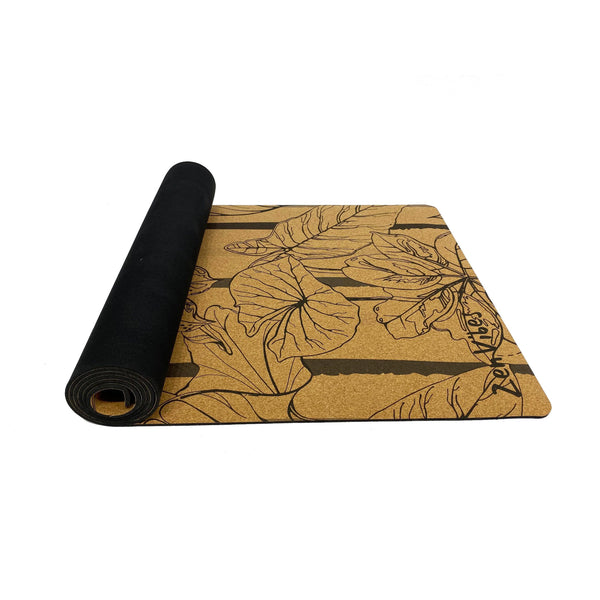 4.5 mm Thick Cork Rubber Yoga Mat with Striped Monstera Print