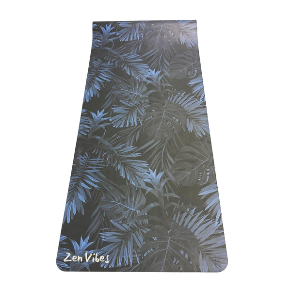 4.5 mm Rubber PU Yoga Mat Leaf Print