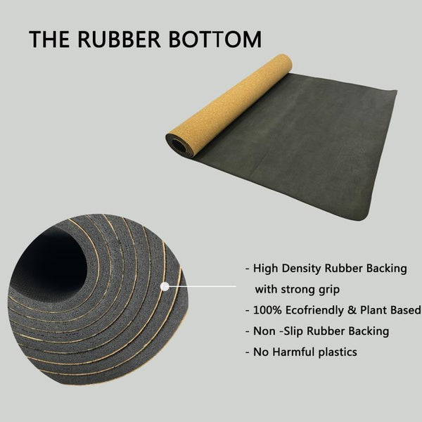 Cork yoga mat rubber bottom