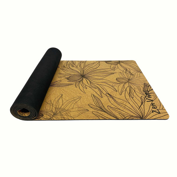 4.5 mm Thick Cork Rubber Yoga Mat tropical floral Print
