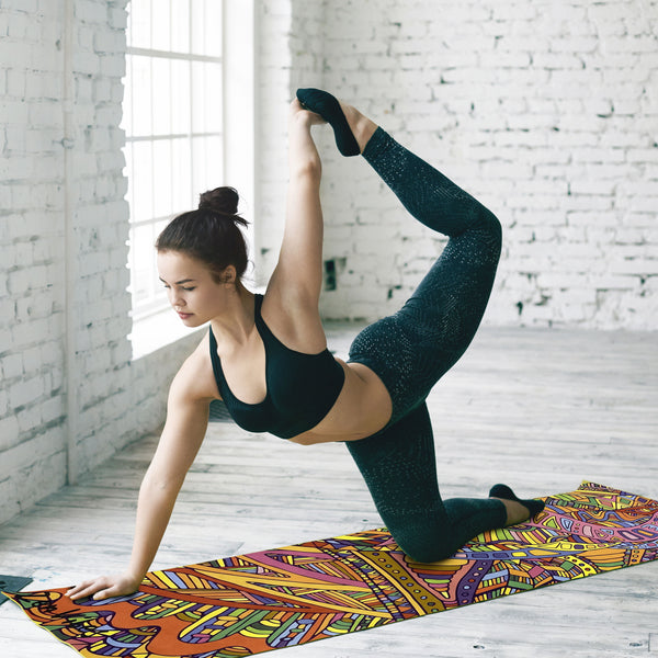 colorful microfibre yoga mat
