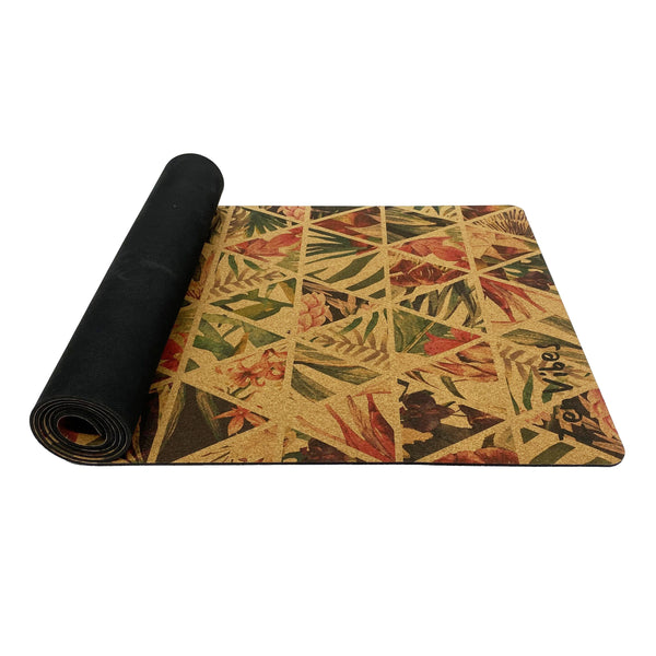 4.5 mm Colourful Cork Yoga Mat tropical floral Print