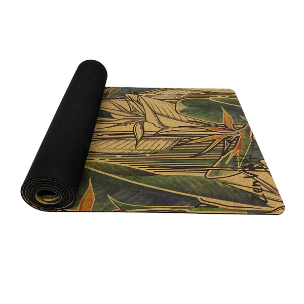 4.5 mm Colourful Printed Cork Yoga Mat exotic floral