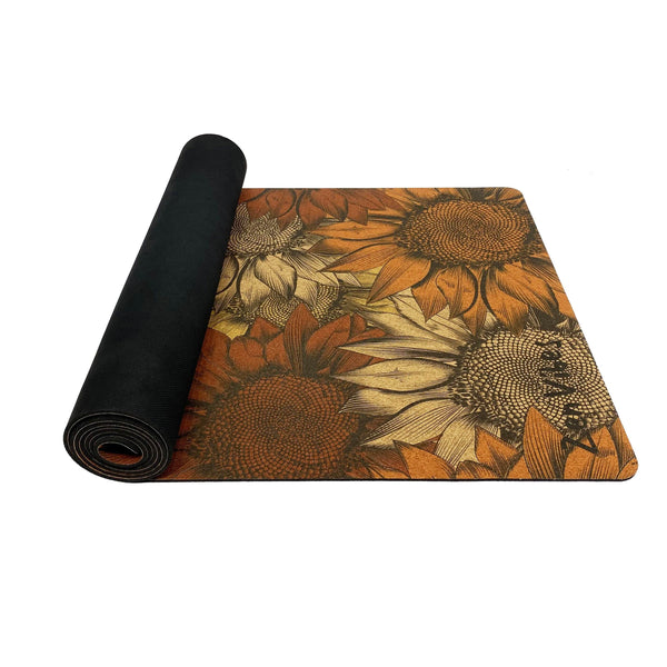 4.5 mm Colourful Cork Yoga Mat sunflower floral Print