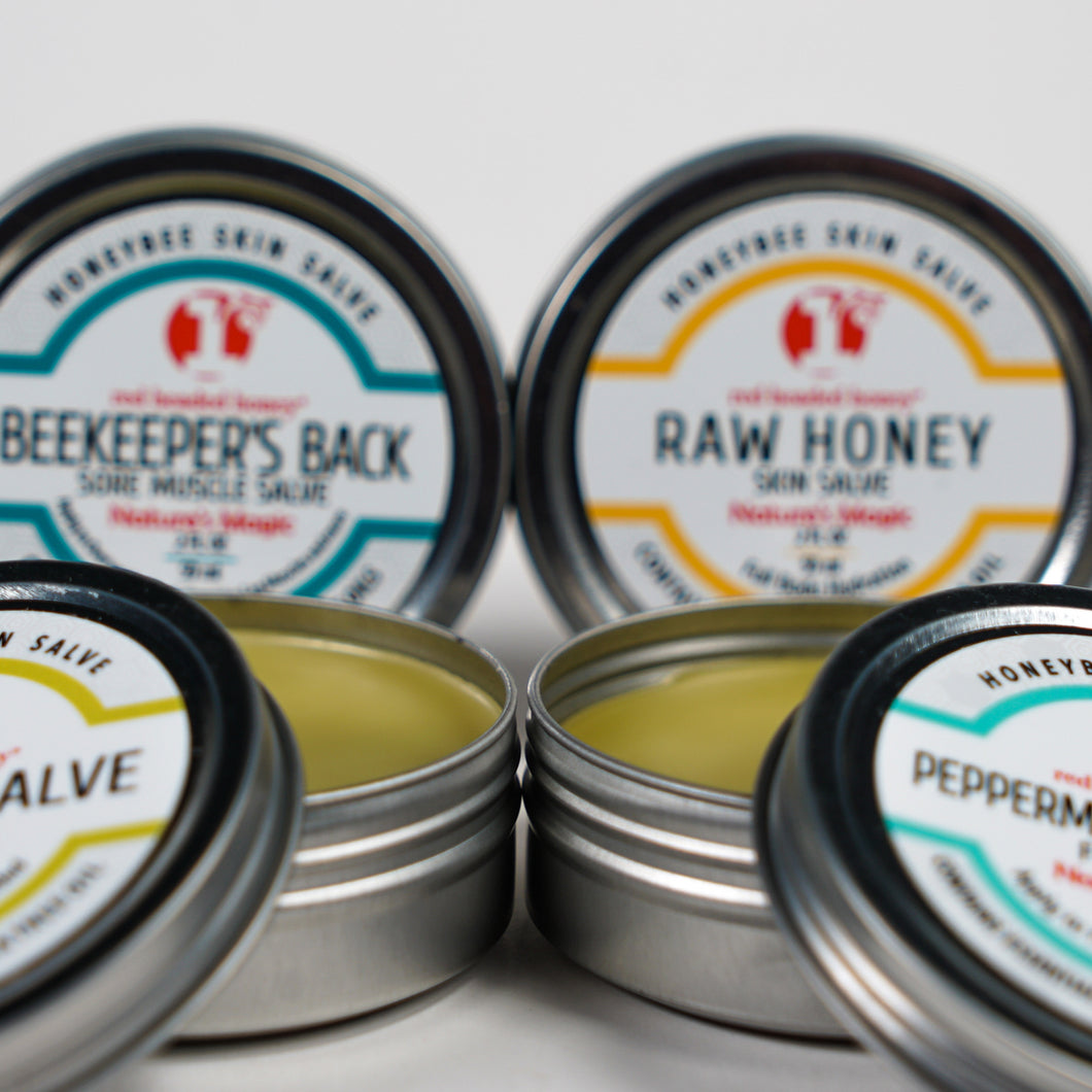 Beeswax Based Skincare Salves-2 oz Tin Collection by red headed honey Kits- Red Headed Honey