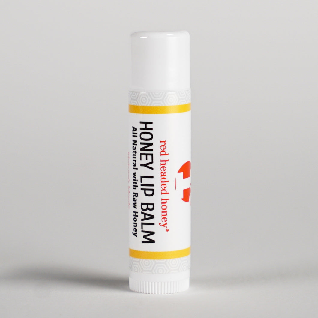Raw Honey Lip Balm enriched with Vitamin E Oil and Cocoa Butter. Made with Natural Michigan Honey Lip Balm- Red Headed Honey