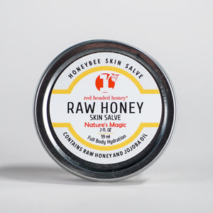 Raw Honey Skin Salve-With Honey and Jojoba Oil-2oz Salve- Red Headed Honey