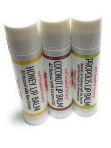 Coconut, Honey & Propolis Lip Care Combo-3-pack Beeswax Based Natural Lip Balm Lip Balm- Red Headed Honey