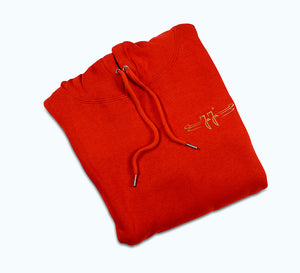 Hoodie red with gold