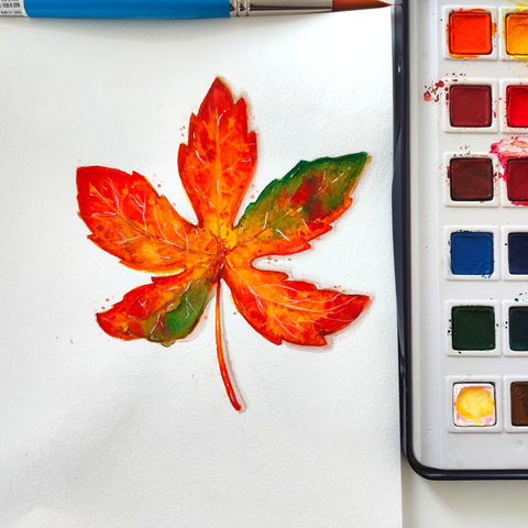 Fall Leaf watercolor painting