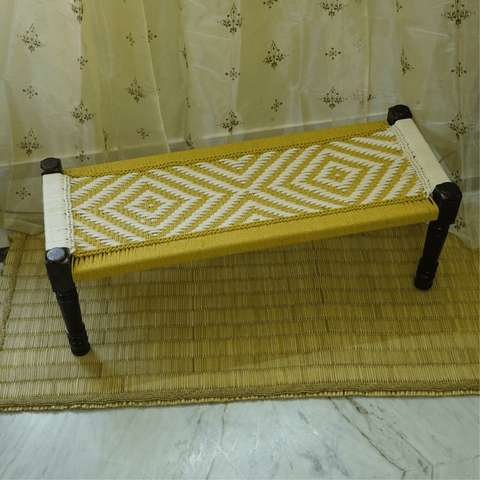 Wooden Charpai / Traditional Wooden Bench (Yellow) - Kulture Street