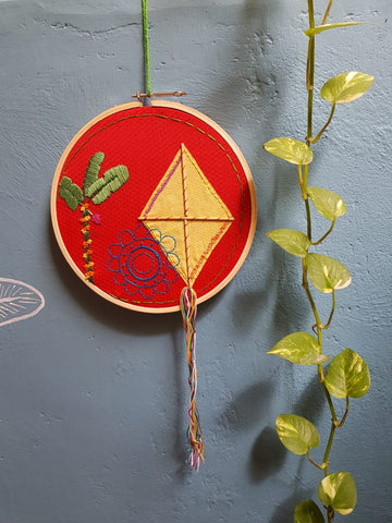 Kyte festival - embroidered wall hanging