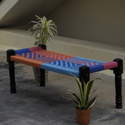 Wooden Charpai / Traditional Wooden Bench (Multi-Color)