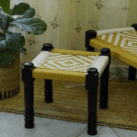 Wooden Charpai / Traditional Wooden Stool (Yellow)